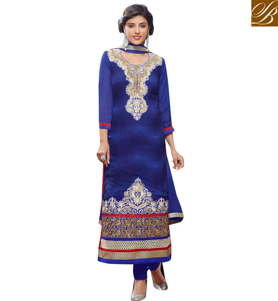 BEAUTEOUS DESIGNER BLUE STRAIGHT CUT SALWAAR SUIT DESIGN VDADT4114 BY BLUE