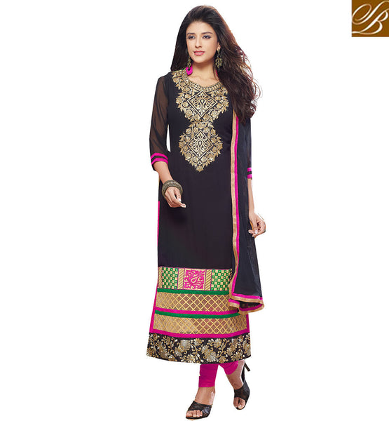 INCREDIBLY DESIGNED STRAIGHT CUT SALWAAR SUIT DESIGN FOR SPECIAL EVENTS VDADT4116 BY BLACK