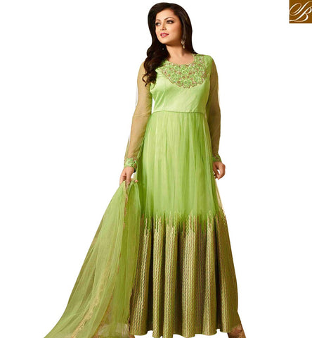 STYLISH BAZAAR PLEASING PISTA GREEN NET ANARKALI DEASIGNER SUIT WITH SEQUINS WORK ON TOP LTNT41260
