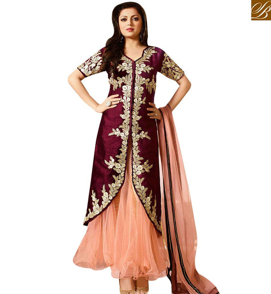 STYLISH BAZAAR SHOP MAROON AND PEACH SILK NET DESIGNER SUITS FROM STYLISH BAZAAR LTNT41262