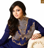 STYLISH BAZAAR PRESENTS NAVY BLUE GEORGETTE GOWN STYLE SUIT WITH MODERN EMBROIDERY WORK LTNT41266