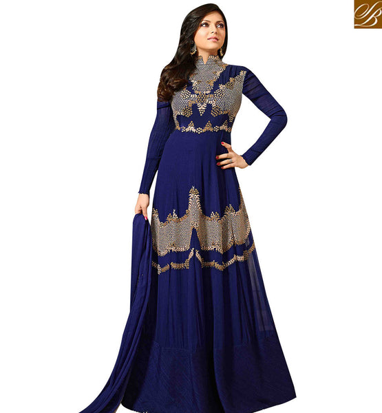 STYLISH BAZAAR NAVY BLUE GEORGETTE GOWN STYLE SUIT WITH MODERN EMBROIDERY WORK LTNT41266
