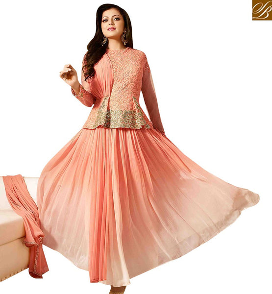 STYLISH BAZAAR AMAZING PEACH GEORGETTE NET EMBROIDERED SALWAR KAMEEZ WITH LEHENGA CHOLI STYLE LTNT41267