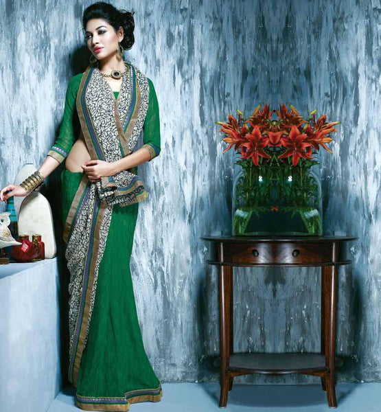 INDIAN ONLINE SHOPPPING WEBSITE GREEN & CREAM PRINTED SAREE RTKAL412B