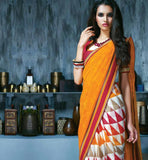INDIAN ONLINE SHOPPPING WEBSITE ORANGE & MAROON PRINTED SAREE RTKAL414B