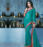 INDIAN ONLINE SHOPPING WEBSITE BLUE PRINTED CASUAL WEAR SAREE RTKAL415A