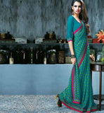 INDIAN ONLINE SHOPPING WEBSITE GREEN PRINTED CASUAL WEAR SAREE RTKAL418A