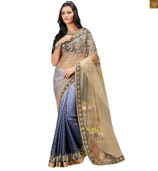 STYLISH BAZAAR CREAM AND BLUE COLOURED SARI WITH A LOVELY BLUE DESIGNER BLOUSE ANOB42