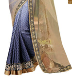 FROM THE HOUSE OF STYLISH BAZAAR CREAM AND BLUE COLOURED SARI WITH A LOVELY BLUE DESIGNER BLOUSE ANOB42