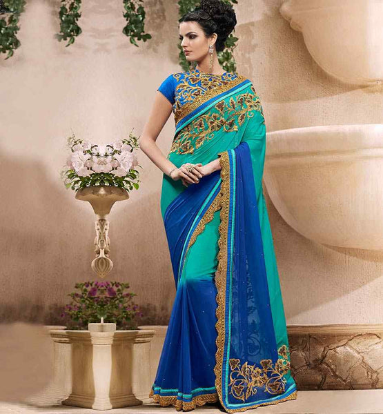 SAREE BLOUSE DESIGNS STUNNING SHADED TONE PARTY WEAR DESIGNER SARI