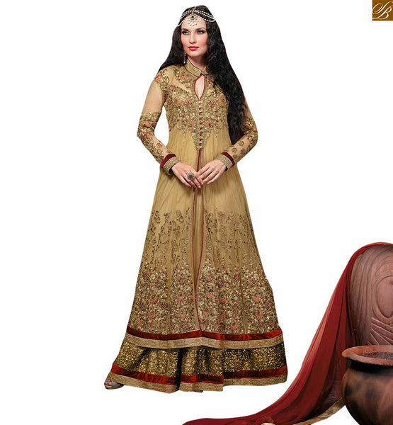 STYLISH BAZAAR DESIGNER ROYAL BEIGE COLORED EMBROIDERED SALWAR SUIT RTVSN4201