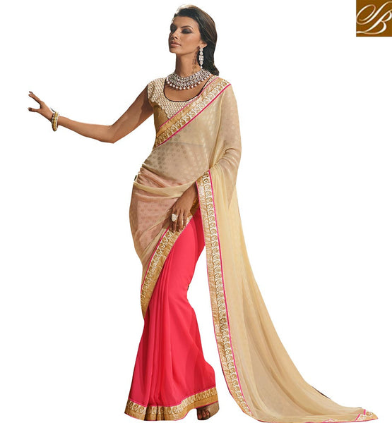 VIVACIOUS DESIGNER OCCASION WEAR SAREE BLOUSE DESIGN VDCHP42010 BY LIGHT PINK & CREAM