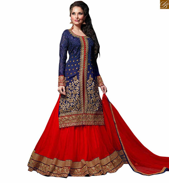 STYLISH BAZAAR STRIKING ROYAL BLUE SHARARA STYLE SALWAR KAMEEZ RTVSN4203