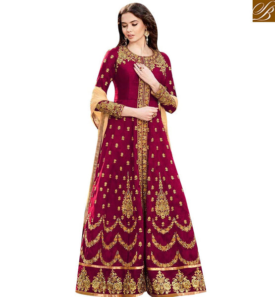 STYLISH BAZAAR GRAND MAROON SILK EMROIDERED ANARKALI SALWAR KAMEEZ WITH ROUND NECK STYLE GLZR1501MR