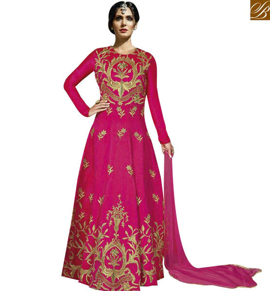 STYLISH BAZAAR SURPRISING PINK COLOR SILK EMBROIDERED SUIT WITH FULL SLEEVES MJBL1350