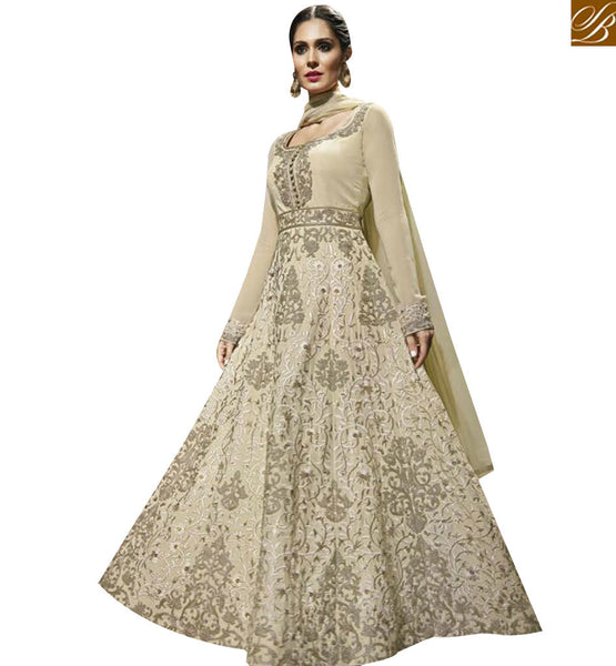 STYLISH BAZAAR APPRECIATING CREAM COTON HEAVY EMBROIDERED SALWAR KAMEEZ WITH ROUND NECK MJBL1351