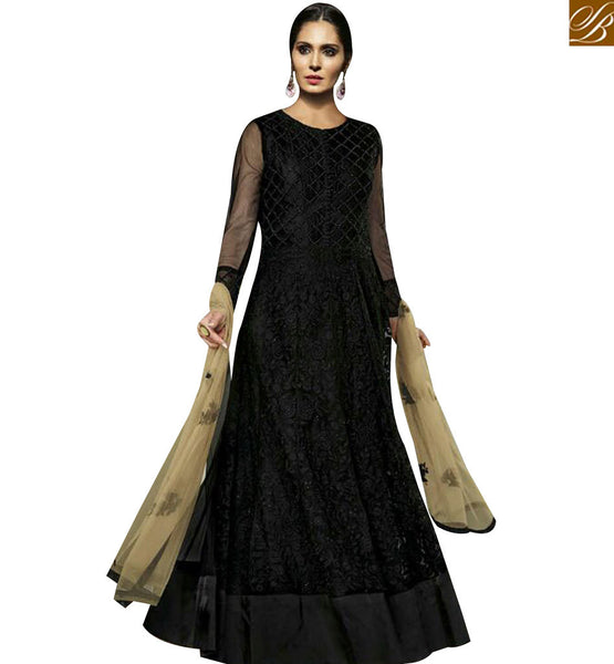 STYLISH BAZAAR LOVELY BLACK NET DESIGNER SUIT HAVING EMBOIDERED FEATURE WITH GOWN STYLE MJBL1353