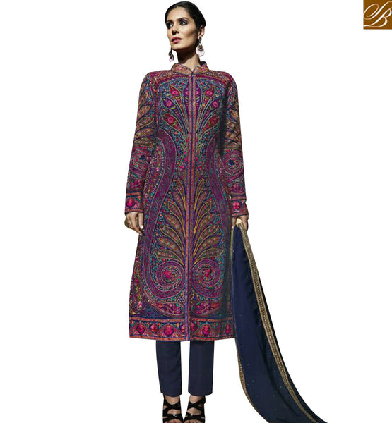 STYLISH BAZAAR WONDERFUL MULTI COLOR GEORGETTE EMBROIDERED SALWAR KAMEEZ WITH ROUND NECK MJBL1355