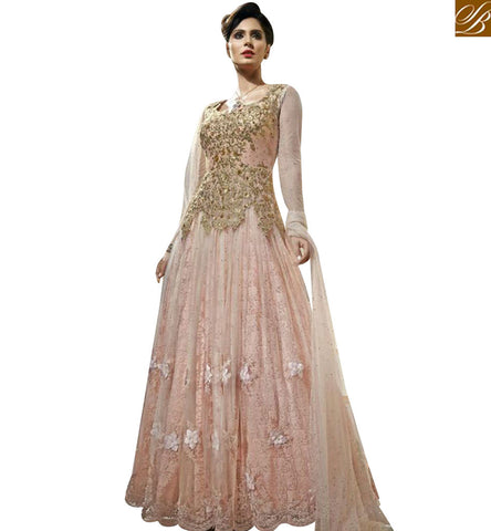 STYLISH BAZAAR PEACH NET DESIGNER GOWN WITH HAVING EMBEDDED FEATURE ON TOP MJBL1356