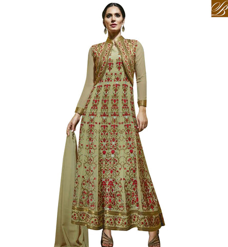 STYLISH BAZAAR MARVELOUS PISTA GREEN GEORGETTE DESIGNER SUIT WITH FLORAL WORK JACKET STYLE MJBL1357