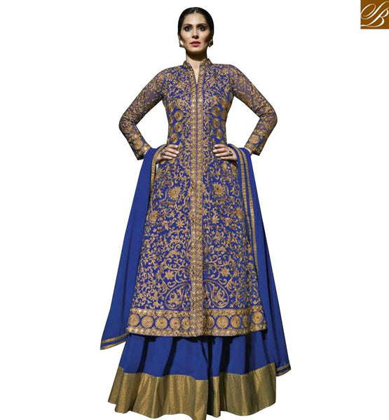 STYLISH BAZAAR CAPTIVATING ROYAL BLUE EMBROIDERED SALWAR KAMEEZ WITH ANARKALI LEHENGA STYLE MJBL1358