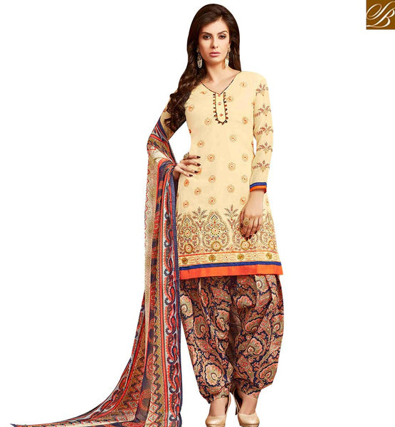 STYLISH BAZAAR ADORABLE CREAM COLOR EMBROIDERED COTTON PATIALA SUIT WITH PRINTED SLAWAR AND DUPATTA MNJ42579
