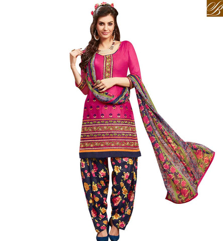 STYLISH BAZAAR LOVELY PINK COLOR EMBROIDERED COTTON PATIALA SUIT WITH PRINTED SALWAR AND DUPATTA MNJ42580
