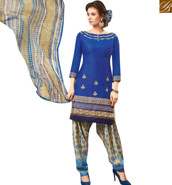 STYLISH BAZAAR GLAMOROUS BLUE COLOR EMBROIDERED COTTON PATIALA SUIT WITH PRINTED SALWAR AND DUPATTA MNJ42581