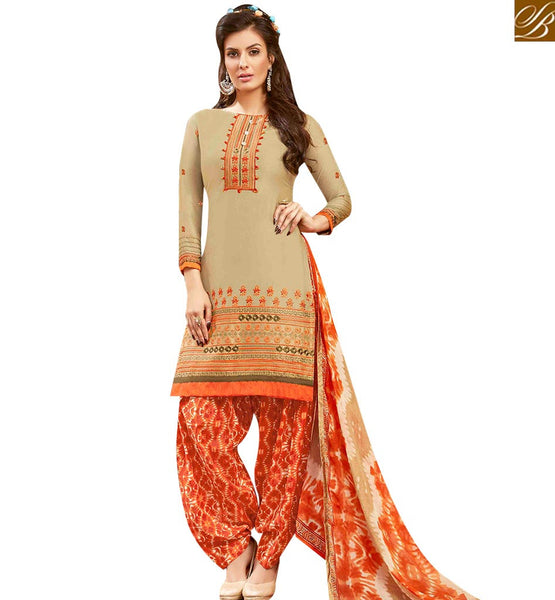 STYLISH BAZAAR WONDERFUL BEIGE COLOR EMBROIDERED COTTON PATIALA SUIT WITH ORANGE AND CREAM SALWAR AND DUPATTA MNJ42582