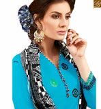 BROUGHT TO YOU BY STYLISH BAZAAR ATTRACTIVE BLUE EMBROIDERED COTTON PATIALA SUIT WITH PRINTED SALWAR AND DUPATTA MNJ42583