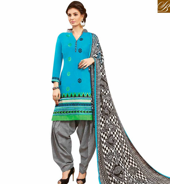 STYLISH BAZAAR ATTRACTIVE BLUE EMBROIDERED COTTON PATIALA SUIT WITH PRINTED SALWAR AND DUPATTA MNJ42583