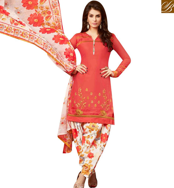 STYLISH BAZAAR FASHIONABLE RED EMBROIDERED COTTON PATIALA SUIT WITH PRINTED SALWAR AND DUPTTA MNJ42584