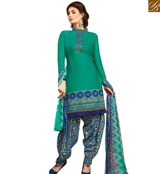 STYLISH BAZAAR ANGELIC GREEN COLOUR EMBROIDERED COTTON PATIALA SUIT WITH PRINTED SALWAR AND DUPATTA MNJ42585