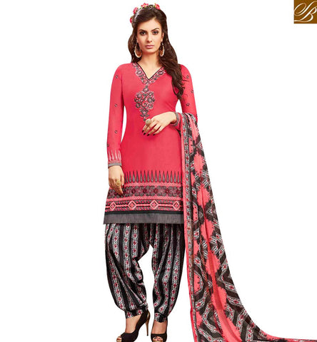 STYLISH BAZAAR APPEALING PINK COTTON EMBROIDERED PATIALA SUIT WITH PRINTED SALWAR AND DUPATTA