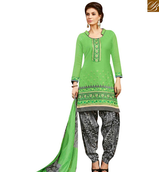 STYLISH BAZAAR WONDERFUL GREEN COTTON EMBROIDERED PATIALA SUIT WITH PRINTED SALWAR AND DUPATTA MNJ42587