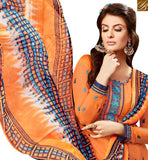 FROM STYLISH BAZAAR INVITING ORANGE COTTON EMBROIDERED PATIALA SALWAR SUIT WITH PRINTED SALWAR AND DUPATTA MNJ42589