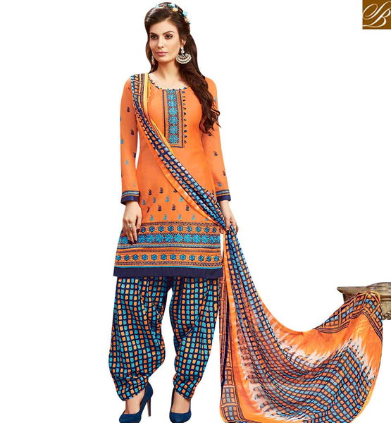STYLISH BAZAAR INVITING ORANGE COTTON EMBROIDERED PATIALA SALWAR SUIT WITH PRINTED SALWAR AND DUPATTA MNJ42589