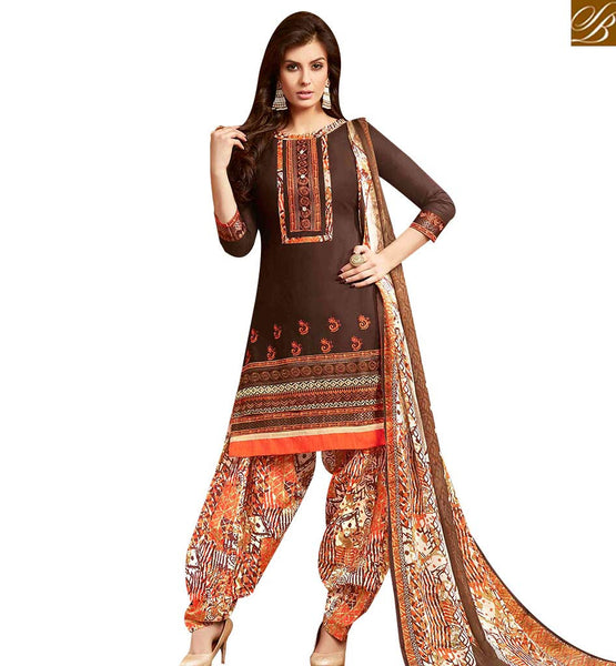 STYLISH BAZAAR STYLISH COFFEE COLOUR COTTON EMBROIDERED PATIALA SALWAR SUIT WITH PRINTED SALWAR AND DUPATTA MNJ42590