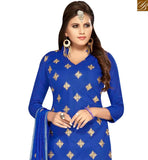 FROM STYLISH BAZAAR SURPRISING BLUE COLOR COTTON EMBROIDERED SUIT WITH EMBROIDERED DUPATTA MNJ42591
