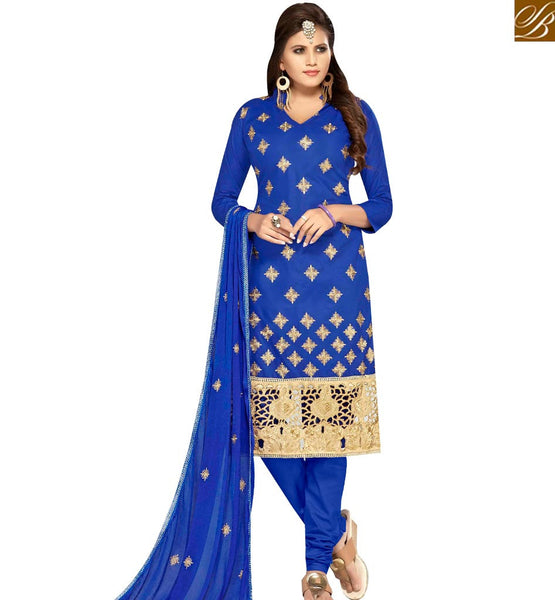 STYLISH BAZAAR SURPRISING BLUE COLOR COTTON EMBROIDERED SUIT WITH EMBROIDERED DUPATTA MNJ42591