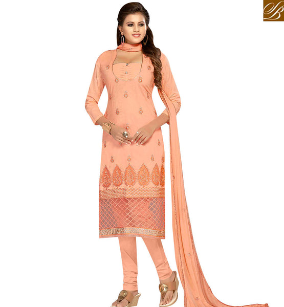 STYLISH BAZAAR ELEGANT PEACH COLOR COTTON EMBROIDERED CHURIDAR SUIT WITH EMBROIDERED DUPATTA MNJ42592