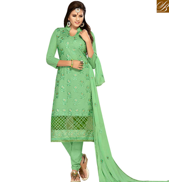 STYLISH BAZAAR ATTRACTIVE GREEN COLOR COTTON EMBROIDERED SUIT WITH EMBROIDERED DUPATTA MNJ42593