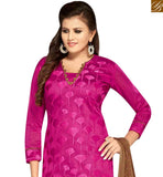 STYLISH BAZAAR PRESENTS MAGNIFICENT MAGENTA COLOR CHANDERI SUIT WITH LACE PRINTED DUPATTA MNJ42594
