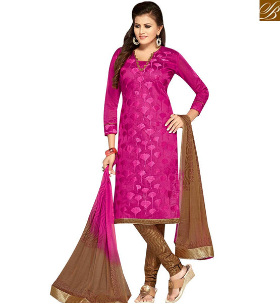 STYLISH BAZAAR MAGNIFICENT MAGENTA COLOR CHANDERI SUIT WITH LACE PRINTED DUPATTA MNJ42594