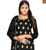 A STYLISH BAZAAR PRESENTATION APPEALING BLACK COLOR COTTON SUIT HAVING EMBROIDERY. COMES WITH EMBROIDERED DUPATTA MNJ42595