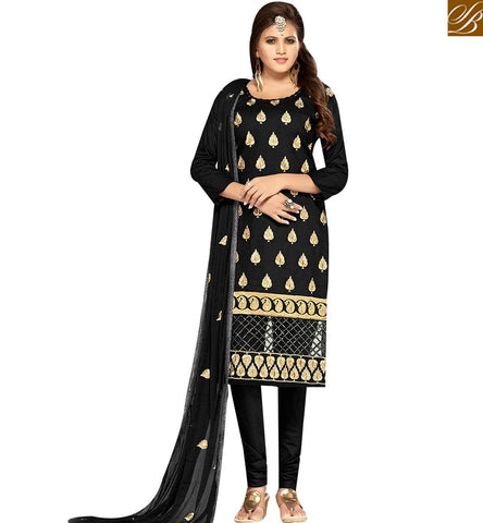 STYLISH BAZAAR APPEALING BLACK COLOR COTTON SUIT HAVING EMBROIDERY. COMES WITH EMBROIDERED DUPATTA MNJ42595