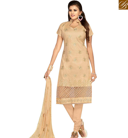 STYLISH BAZAAR BUY CREAM EMBROIDERED COTTON SUITS FROM STYLISH BAZAAR. WITH EMBROIDERED DUPATTA MNJ42596