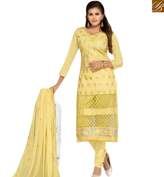 STYLISH BAZAAR PLEASING LIGHT YELLOW COLOR COTTON EMBROIDERED SUIT WITH EMBROIDERED DUPATTA MNJ42597