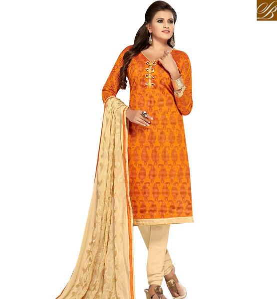 STYLISH BAZAAR FASCINATING YELLOW AND CREAM COLOR EMBROIDERED SUIT WITH EMBROIDERED DUPATTA MNJ42598