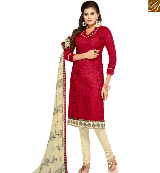STYLISH BAZAAR ULTIMATE RED AND CREAM COLOR CHANDERI EMBROIDERED STRAIGHT SUIT WITH PRINTED CREAM DUPATTA MNJ42599